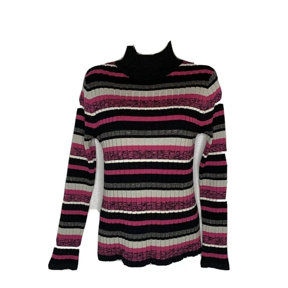 SPANNER Striped Sparkle Stretch Mock Neck